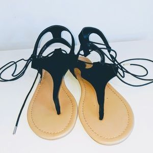Gladiator thong lace up sandals